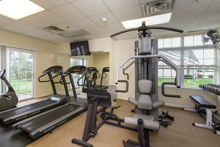 Stay healthy in our well equipped fitness center at Villas of Victor and Regency Townhomes