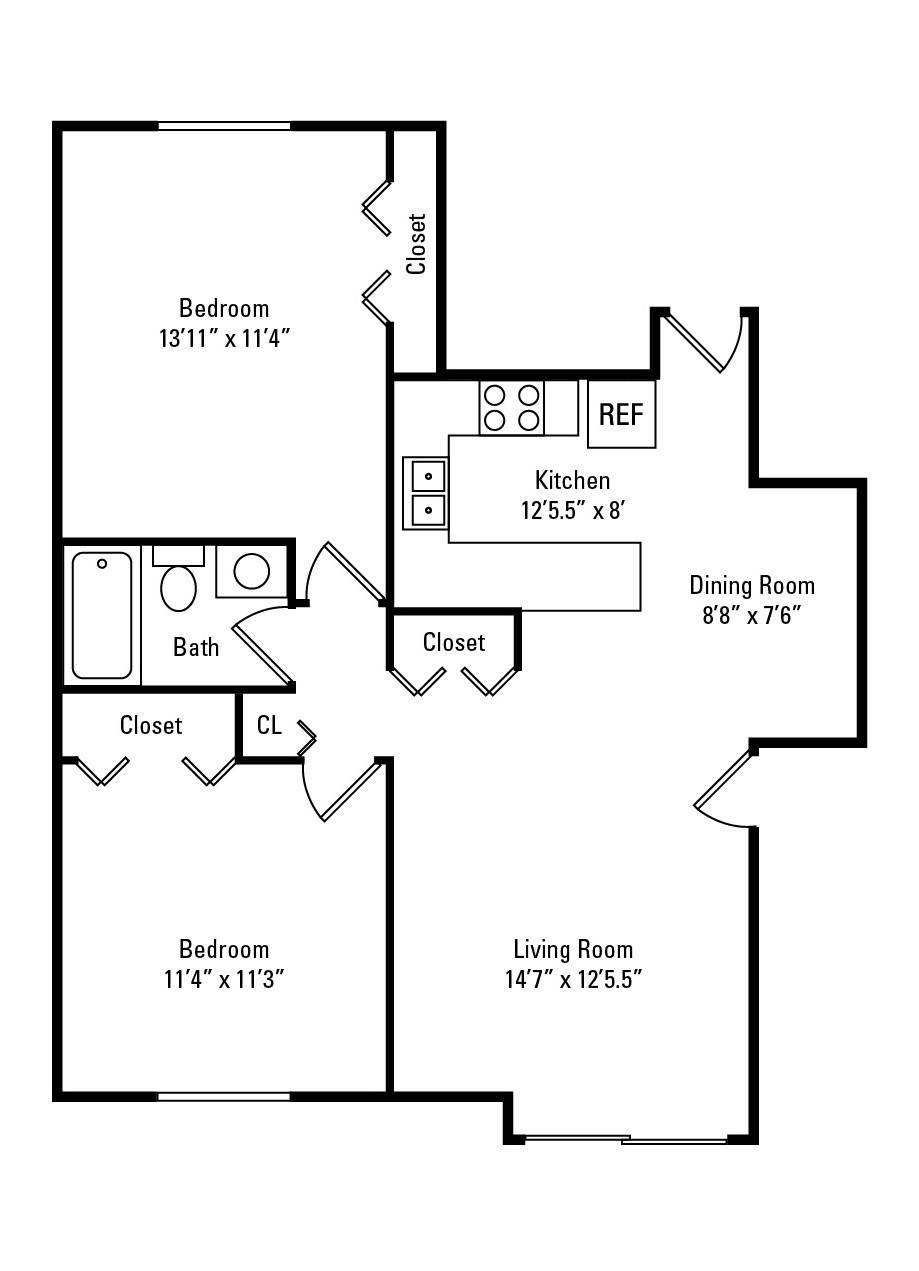 2 Bedroom, 1 Bath 846 sq. ft. floor plan at The Flats at Gladstone in Glendale Heights, IL