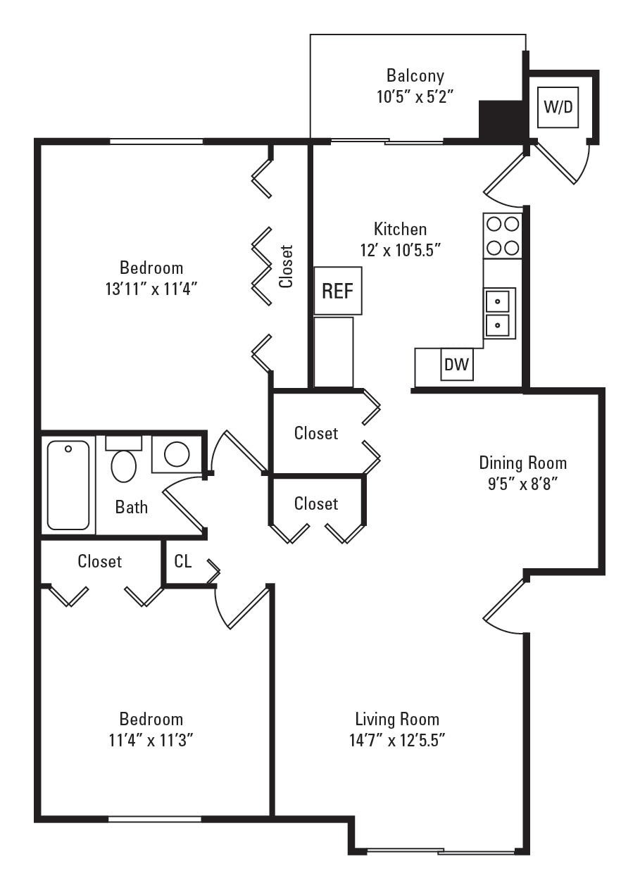 2 Bedroom, 1 Bath 900 sq. ft. floor plan at The Flats at Gladstone in Glendale Heights, IL