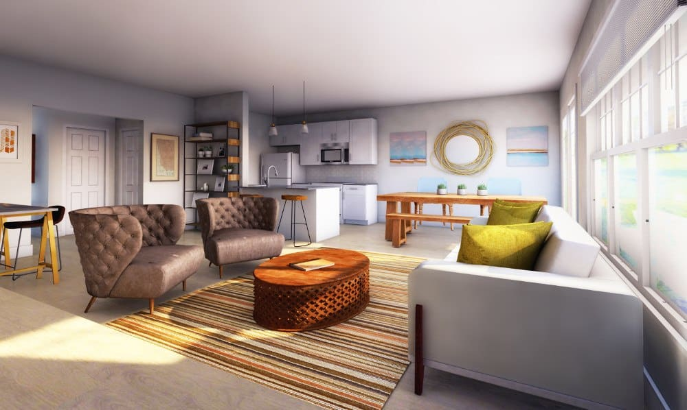 Spacious Living Room at Woodland Acres Townhomes in Liverpool, NY