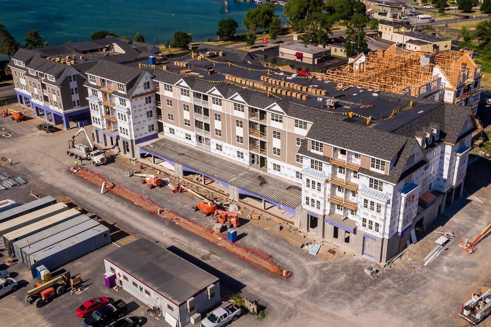 Pinnacle North Apartments under construction aerial view Canandaigua, NY