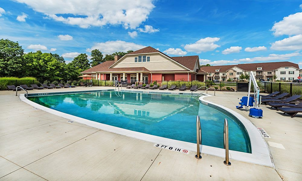 A sparkling pool at Reserve at Southpointe