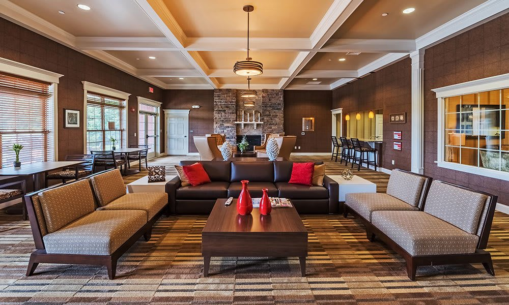 Reserve at Southpointe's beautiful clubhouse interior with seating