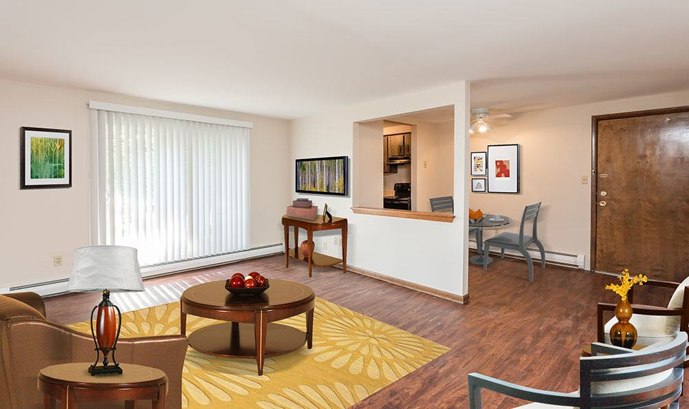 Tonawanda apartments includes living rooms with attached patios