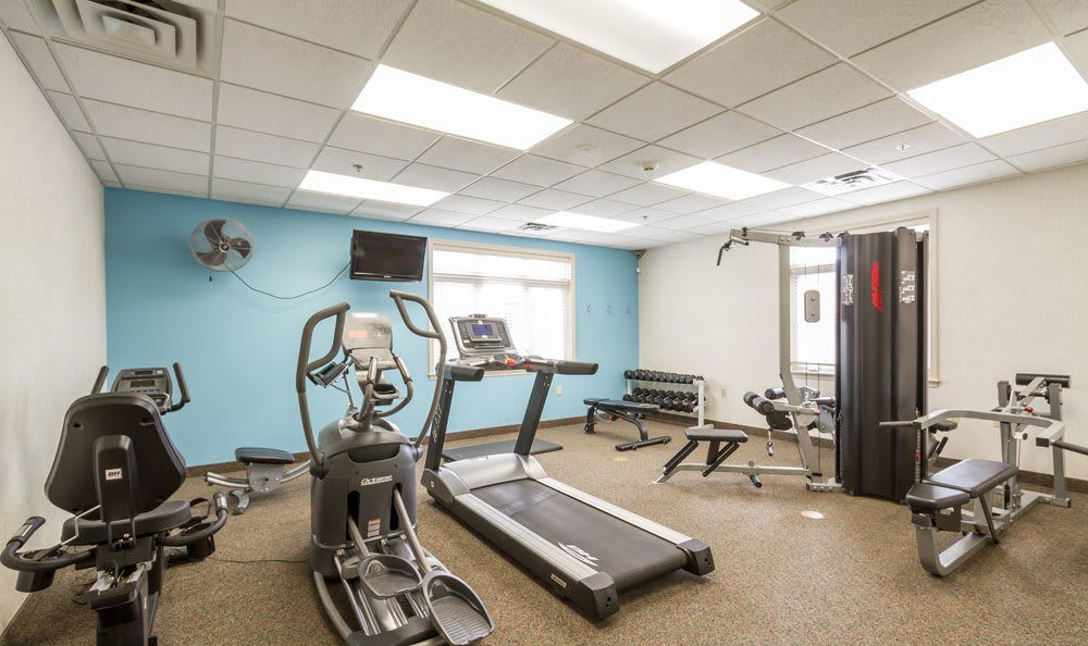 Stay healthy in our well equipped fitness center at Highview Manor Apartments