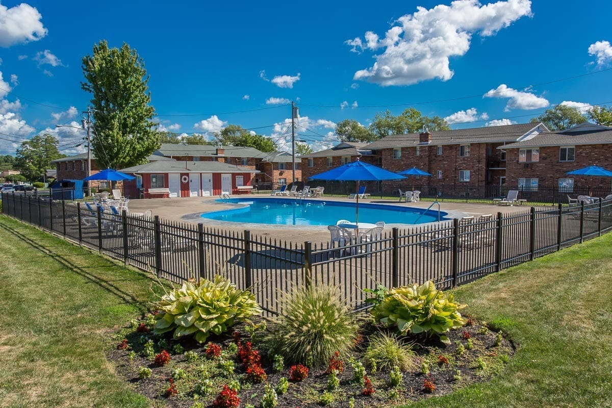 Resort-style swimming pool at Knollwood Manor Apartments apartments for rent in Fairport, NY