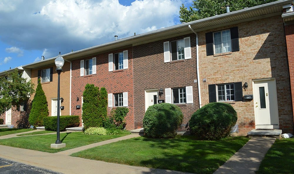 Exterior of the Townhomes at Elmwood Terrace Apartments and Townhomes in Rochester, NY