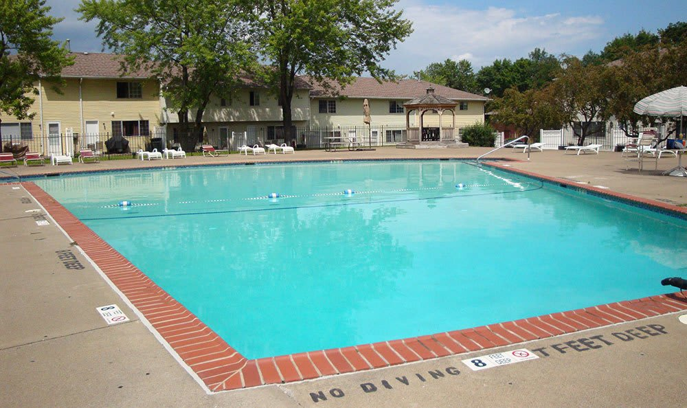 Sparkling swimming pool at Elmwood Terrace Apartments and Townhomes in Rochester, NY