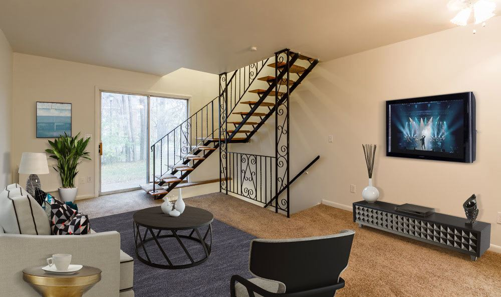 Living Room at Elmwood Terrace Apartments and Townhomes
