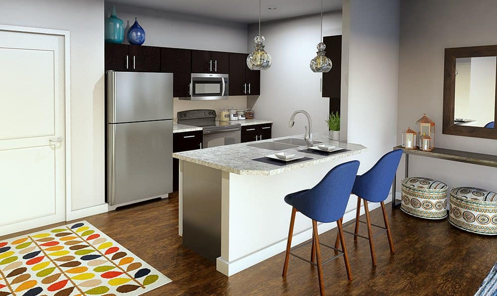 Example kitchen at North Ponds Apartments