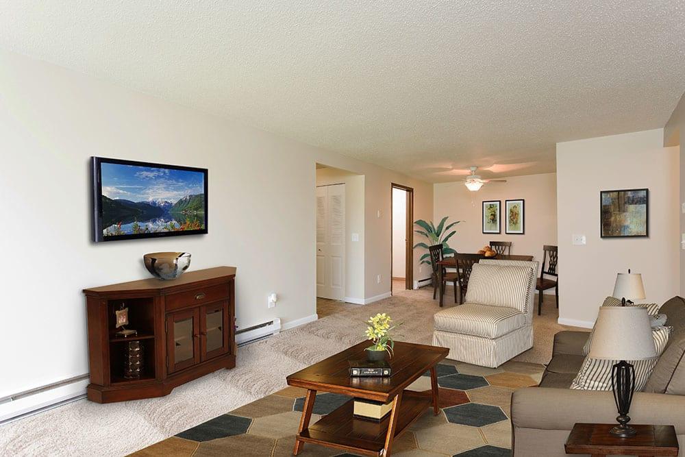 Living Room at Crossroads Apartments