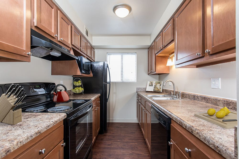 Example kitchen at Crossroads Apartments