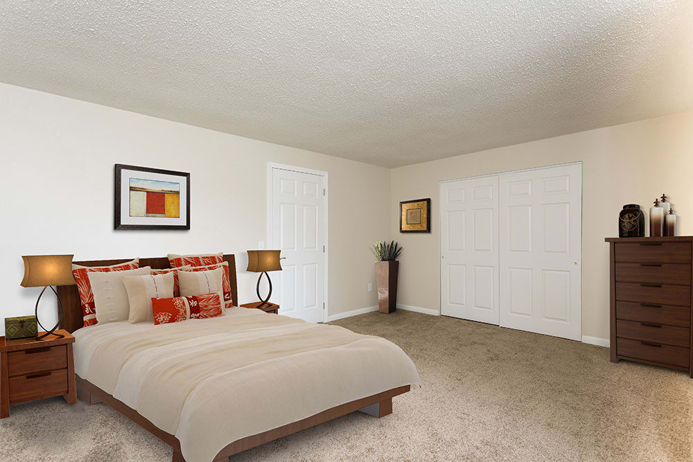 Example bedroom at apartments in Spencerport