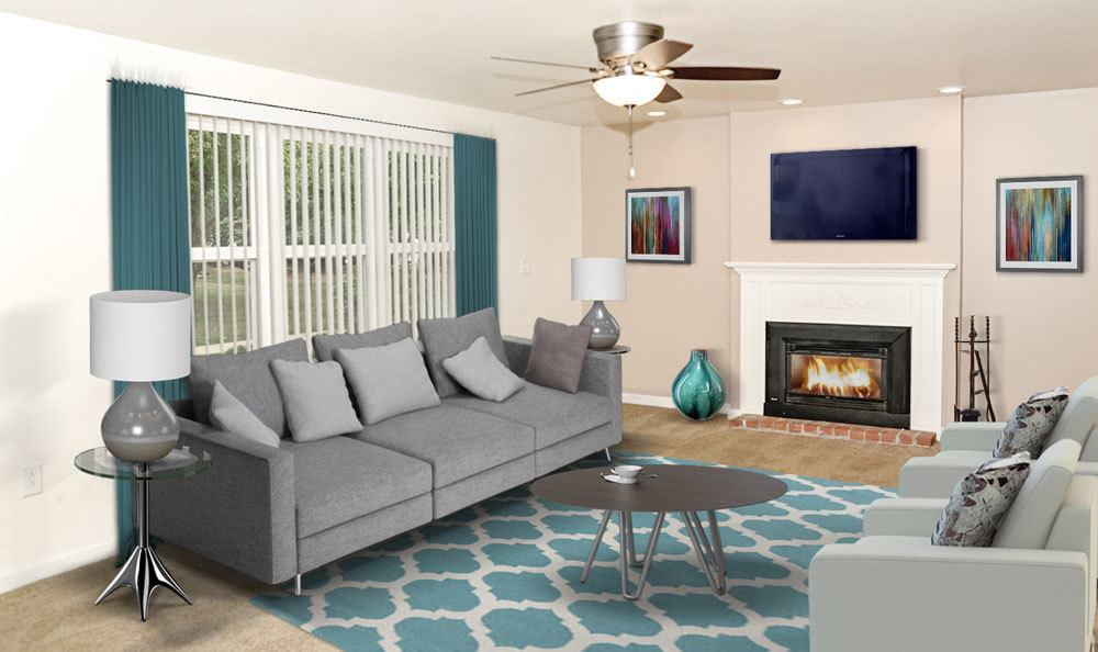 Living Room With Fireplace in Orchard Park, NY