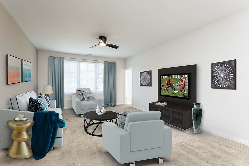 Large open living room waiting for your furniture at Green Lake Apartments in Orchard Park, NY