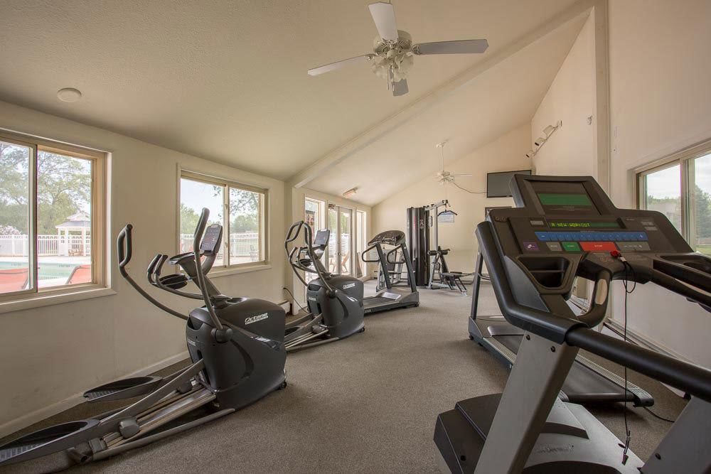 Stay healthy in our well equipped fitness center at Emerald Springs Apartments