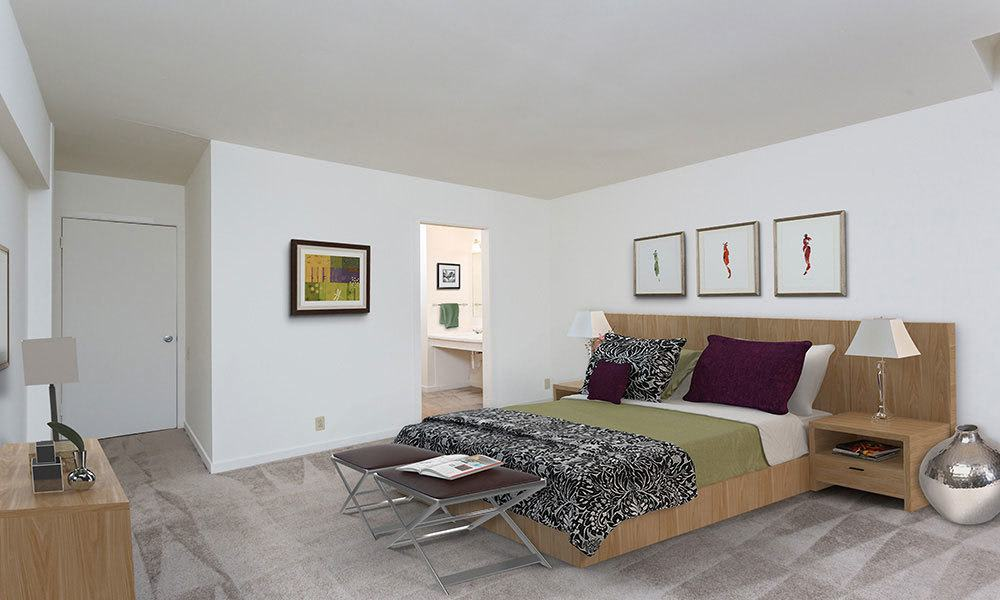 Model bedroom at Emerald Springs Apartments in Painted Post, NY