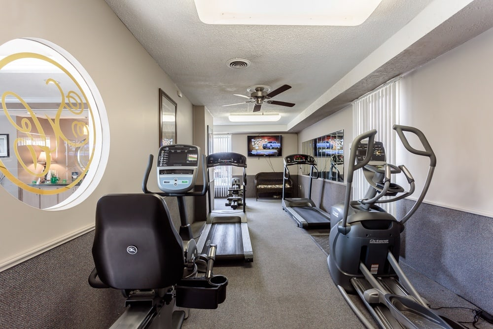 fitness center at Steeplechase Apartments in Camillus, NY