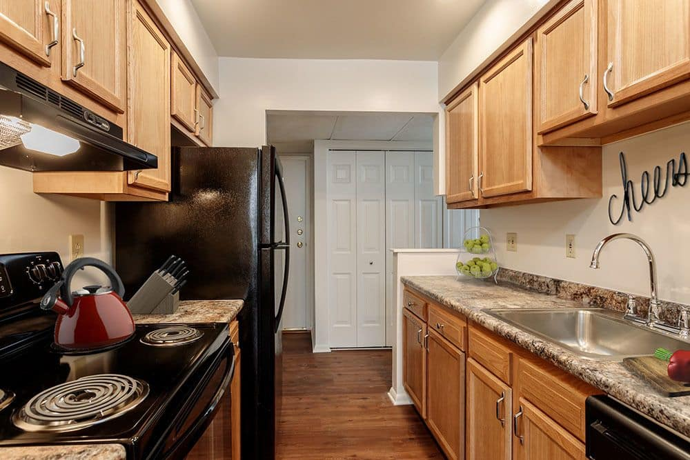 Example kitchen at Steeplechase Apartments in Camillus, NY