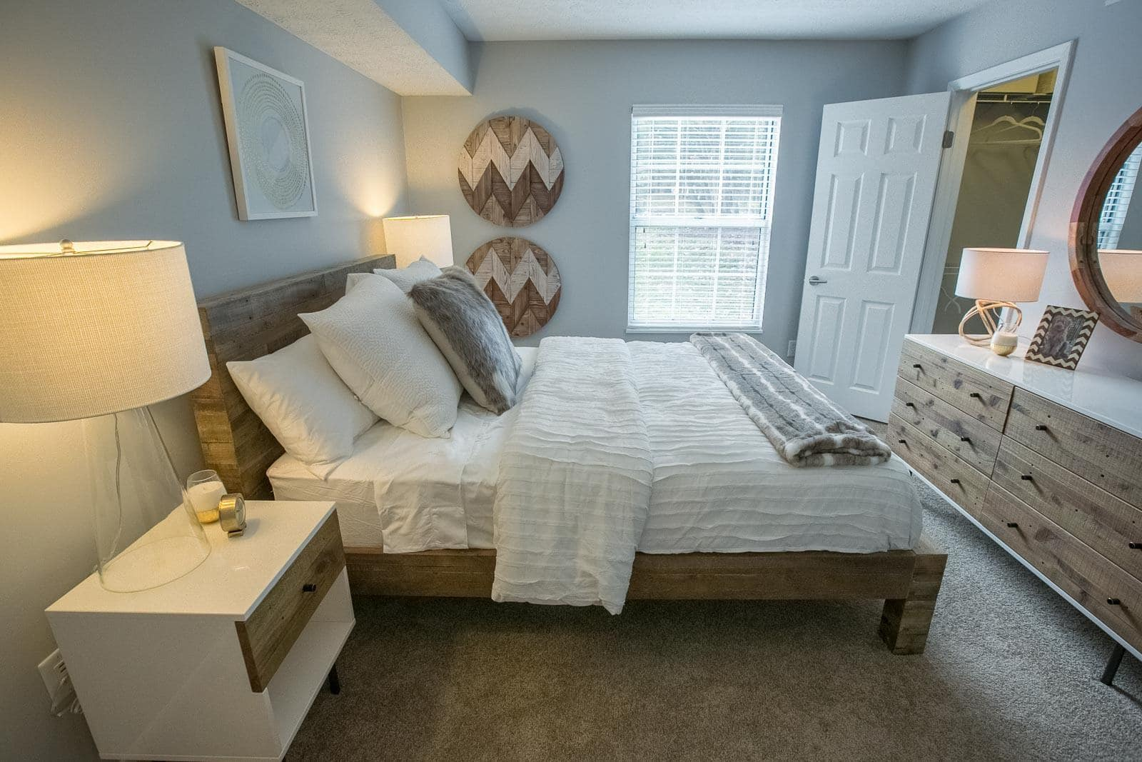 Model bedroom at Hunter's Chase Apartments in Westlake, OH