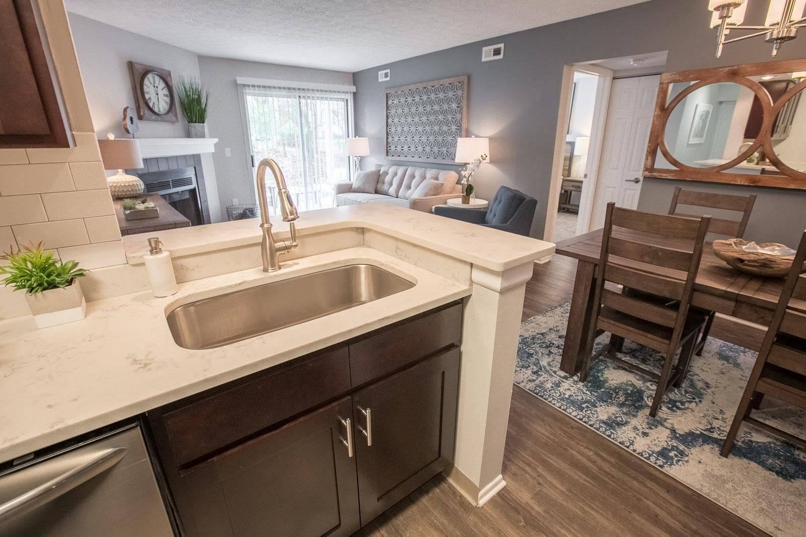 Bright kitchen at Hunter's Chase Apartments in Westlake, OH
