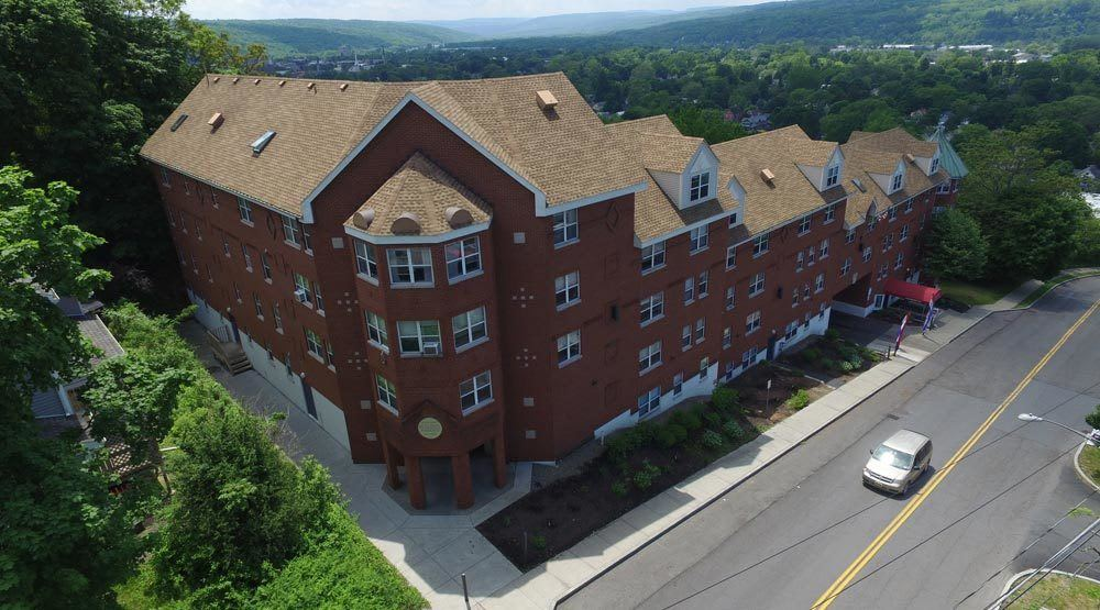 Aerial view of Gun Hill in Ithaca, NY