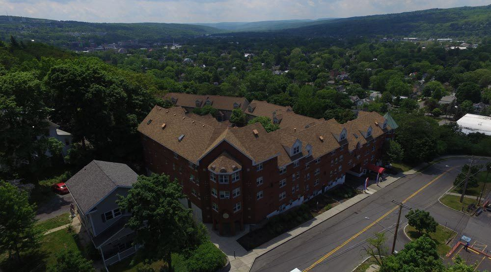 Aerial view of our apartments in Ithaca, NY