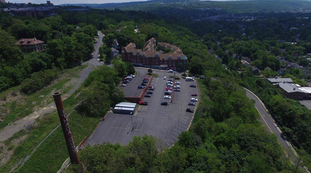 Aerial view of our apartment parking lot in Ithaca, NY