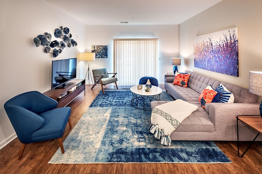 Bright living room at The Kane at Gray's Landing in Aliquippa, PA