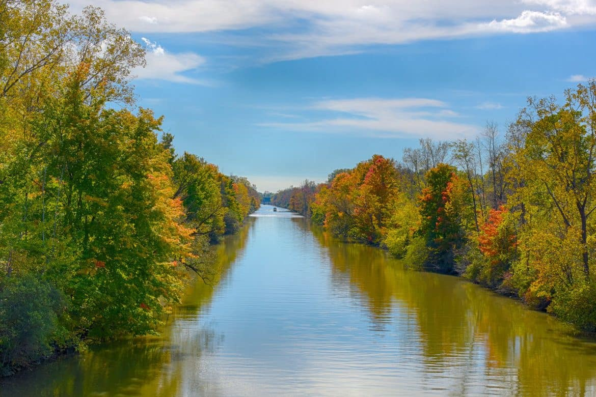 View of Erie Canal which runs through Fairport NY near Village Heights Senior Apartments