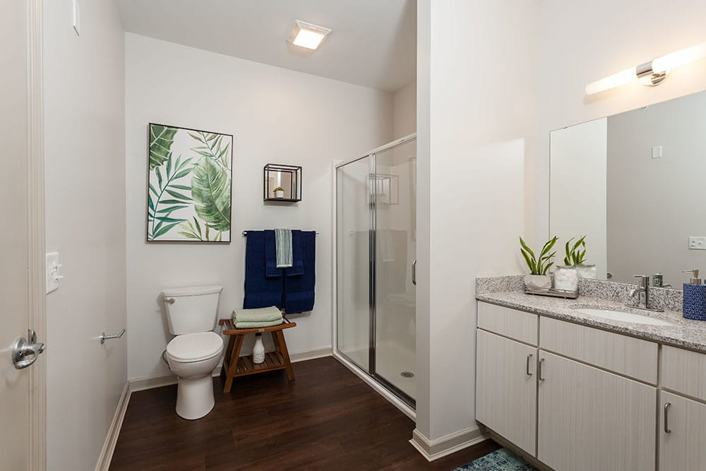 Another angle of our bathrooms at our apartments in Fairport, NY