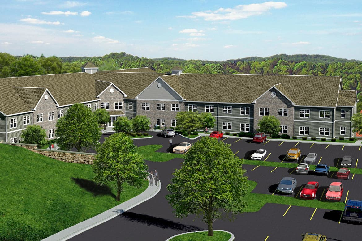 Exterior photo of Village Heights Senior Apartments in Fairport