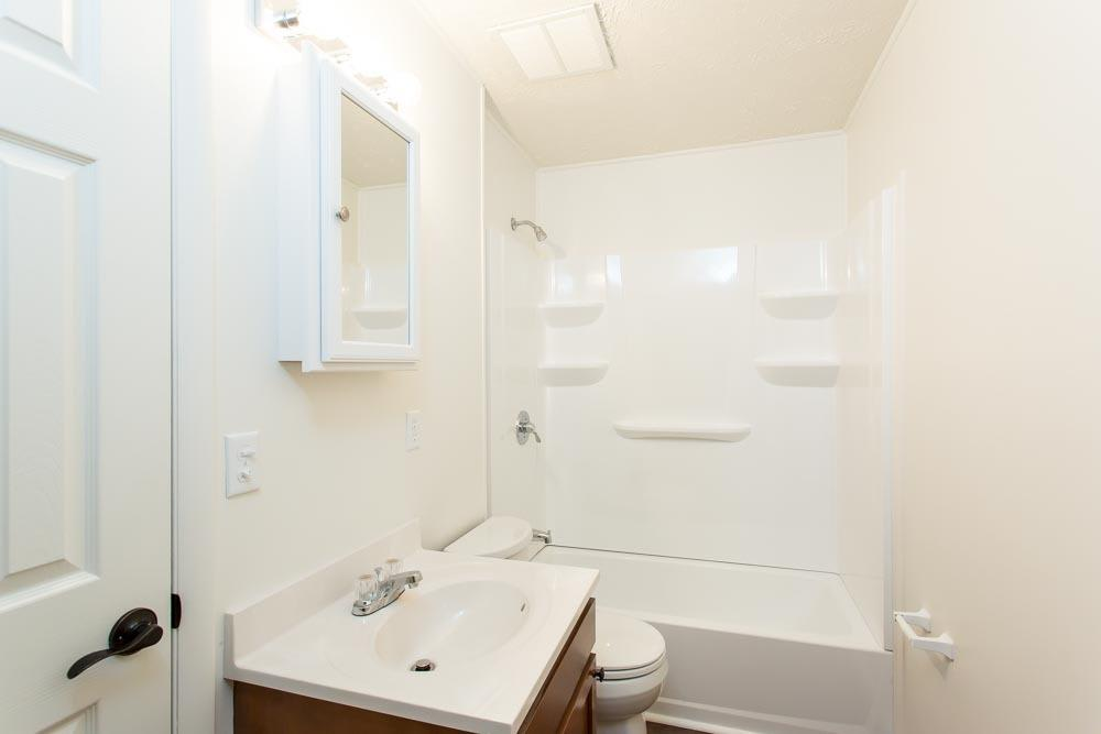 The bright and clean bathroom at Brockport Landing.