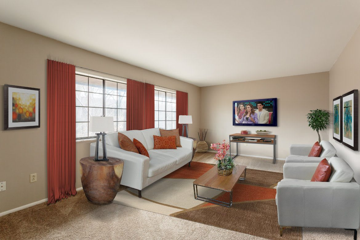 Enjoy the spacious living rooms at The Residences at Covered Bridge in Liverpool NY