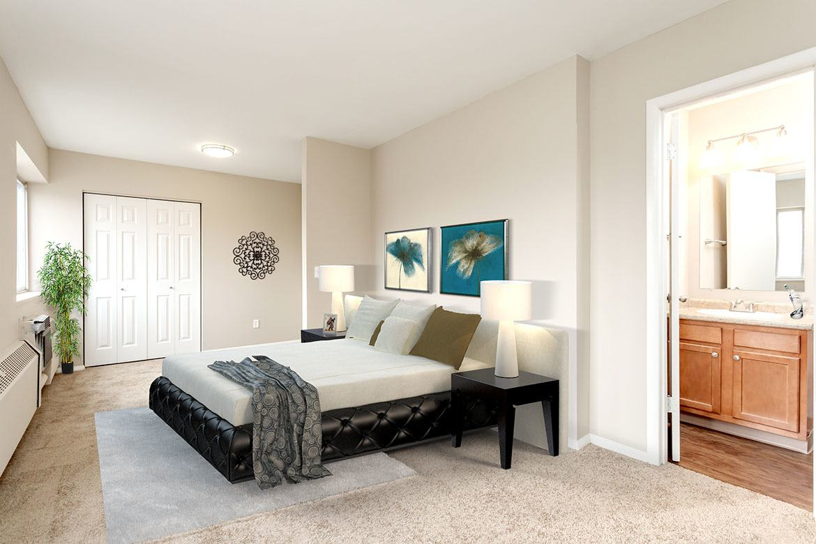 Example bedroom at apartments in Manlius
