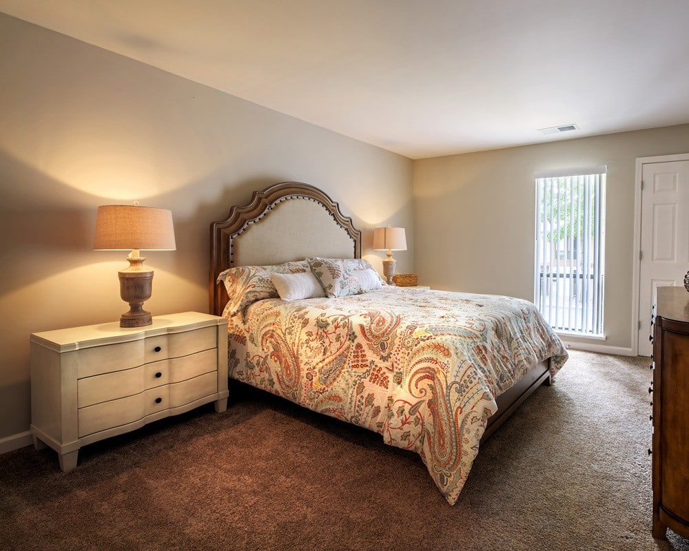 Model bedroom at Nineteen North Apartments in Pittsburgh, PA