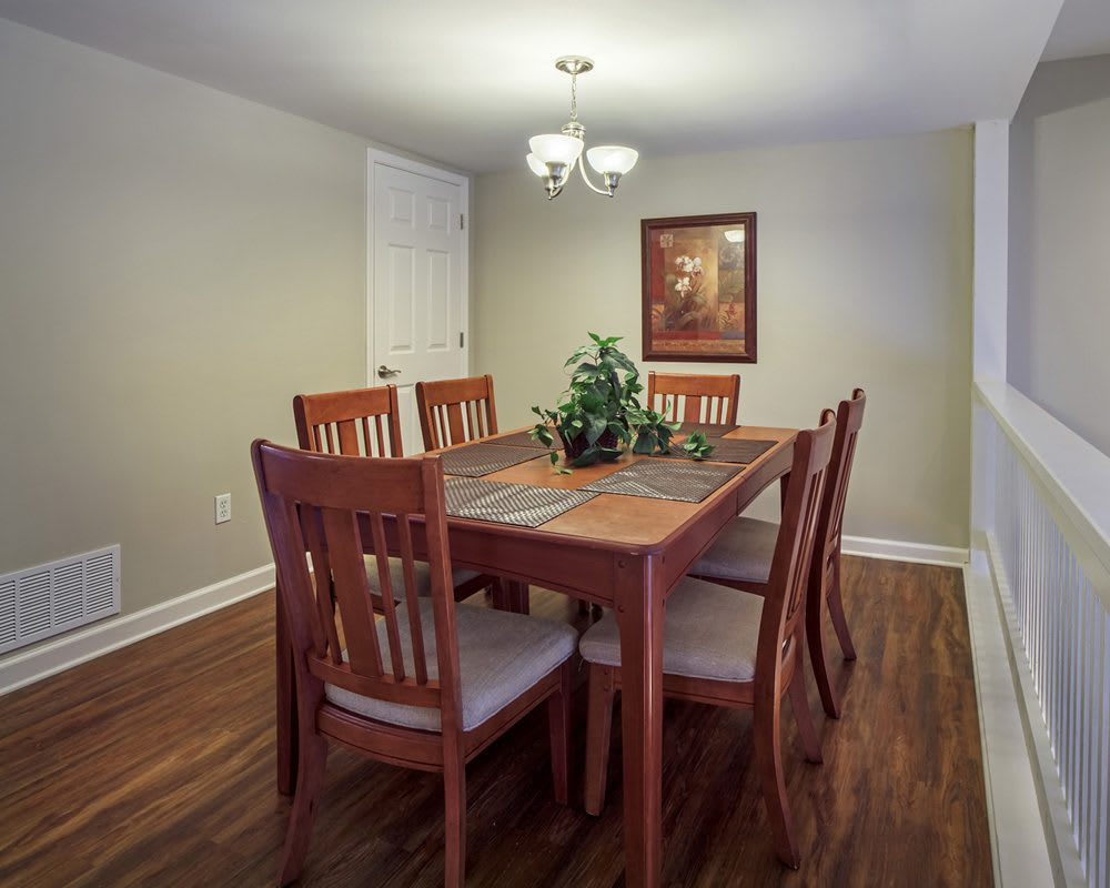 Dining room table in our Pittsburgh, PA apartments