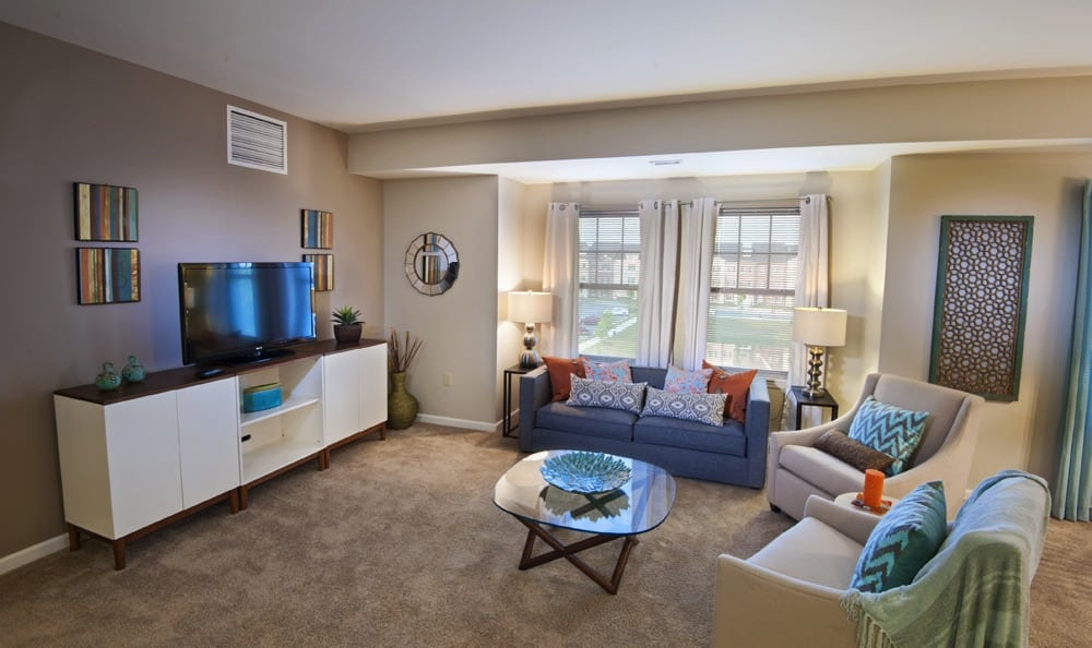 Spacious living rooms at our apartments in Cranberry Township, PA
