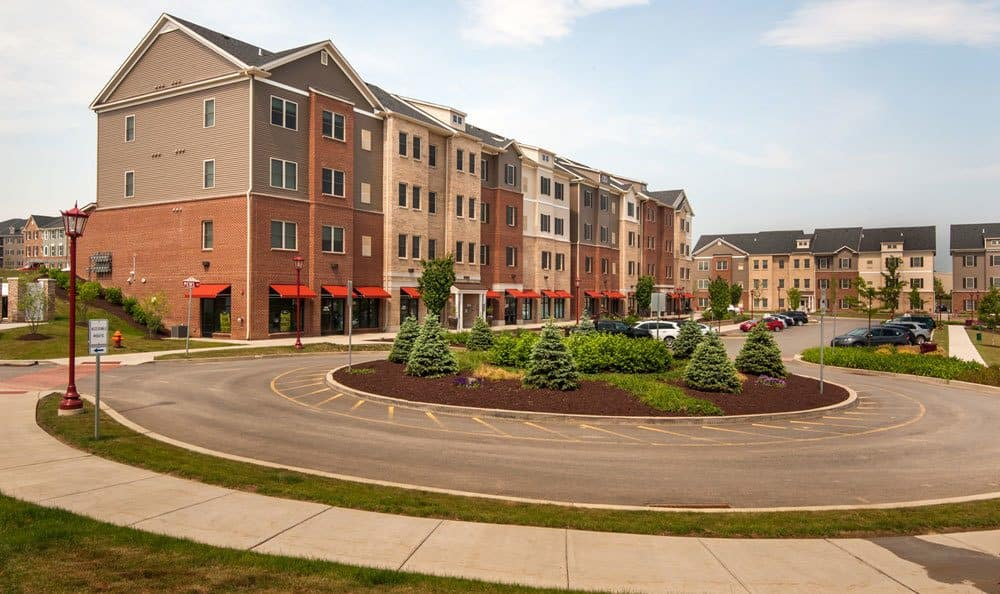 Exterior shot at our pet-friendly luxury apartments for rent in Cranberry Township