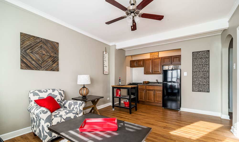 Nice hardwood floors in our Chicago, IL apartments
