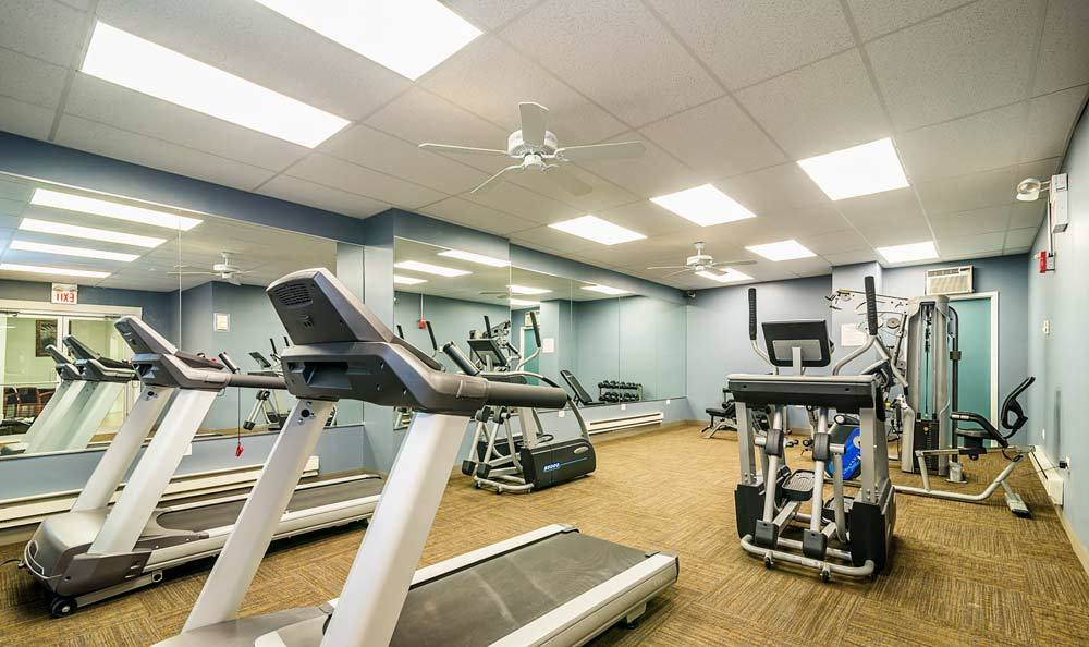 Fitness center at 7100 South Shore Drive Apartments