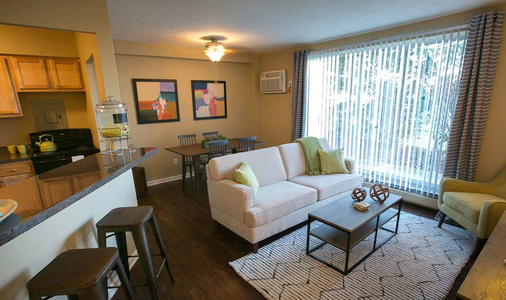 Model livingroom at The Drake Apartments in Mayfield Heights, OH