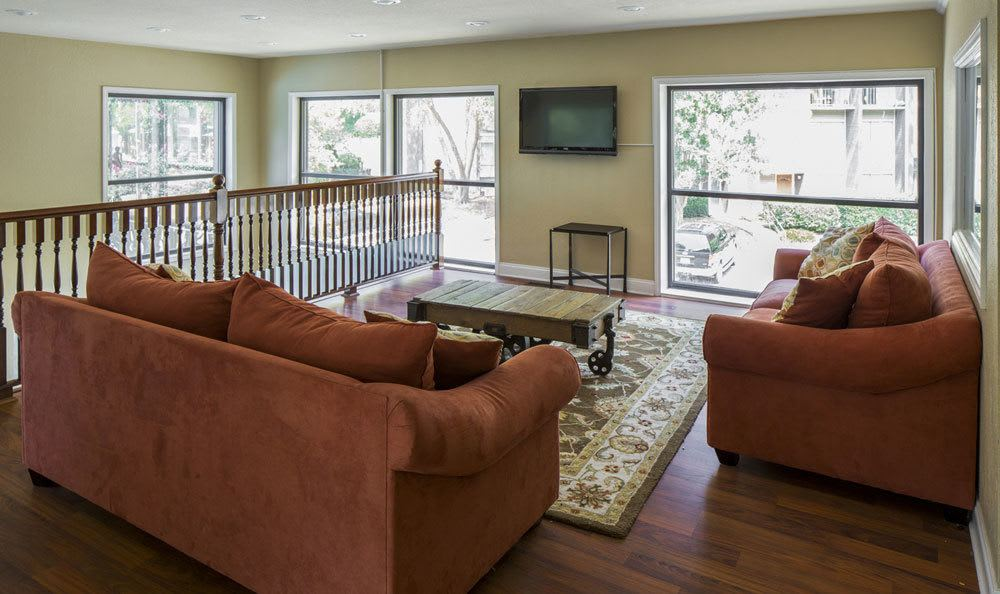 Upstairs lounge area at our apartments in Raleigh, NC