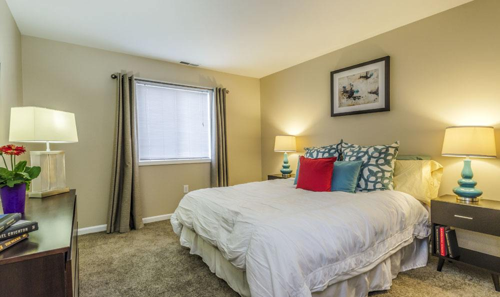 Example bedroom at apartments in Merrillville
