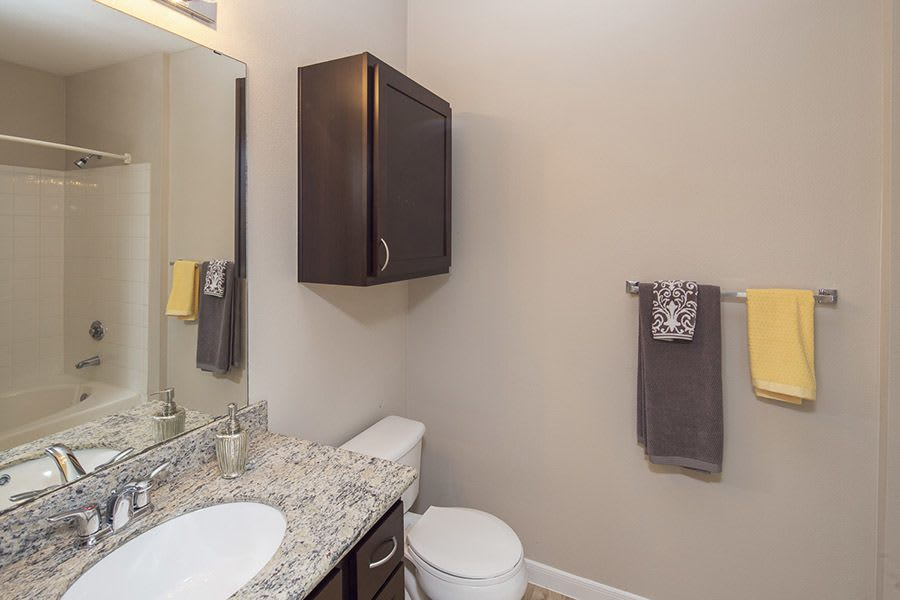 Example bathroom at apartments in in Texas City, TX