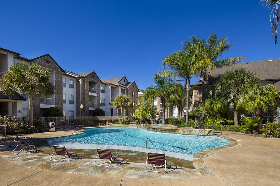A sparkling pool is just one of the many amenities that Veranda has to offer in Texas City, TX