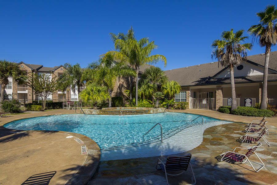 Pool at apartments to rent in Texas City, TX