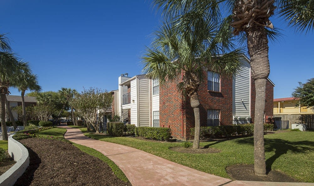 Texas City TX apartment community with trees