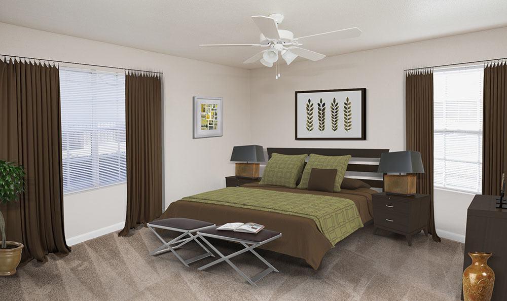 Model bedroom at Stone Ridge Apartments in Texas City, TX