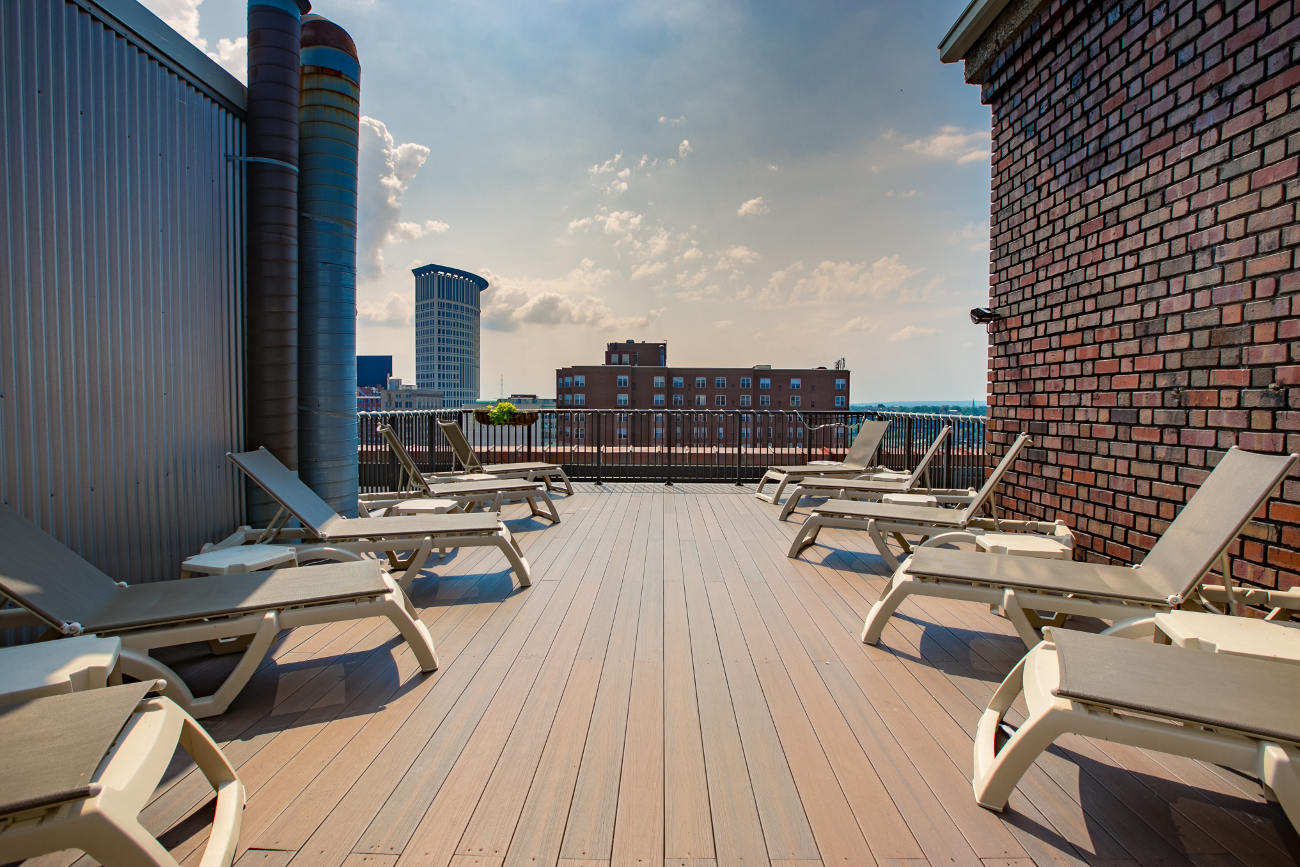 Building rooftop at The Bingham in Cleveland, OH